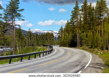 road at the norwegian mountains, Norway  - stock photo