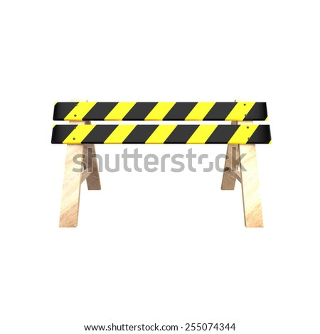 Road barrier with a wooden stand. 3D illustration - stock photo