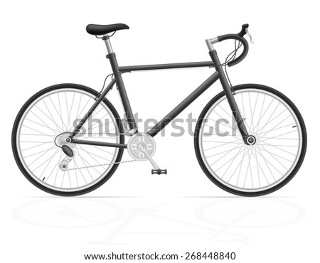 road bike with gear shifting illustration isolated on white background