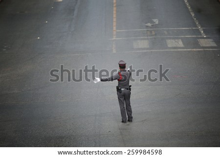 Road block by traffic police. - stock photo