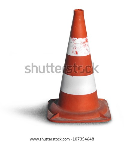 Road bollard traffic cone isolated on white background