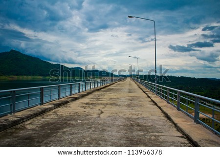 Road bridge on the sea - stock photo
