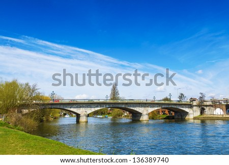 Road Bridge over River Thames at Staines upon Thames, UK