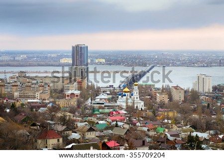 Road bridge over river Volga, which connects city Saratov and Engels - stock photo