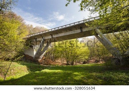 Road bridge structure/View from below an overpass going above a forest near the river Olt in Valcea county. - stock photo