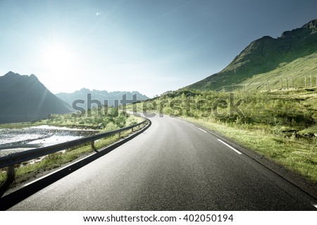 road by the sea, Lofoten island, Norway - stock photo