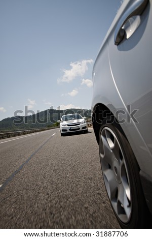 Road, car, clouds, speed