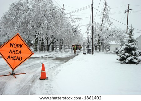 Road closed after an ice storm - stock photo