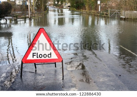 Road closed because of flooding - stock photo