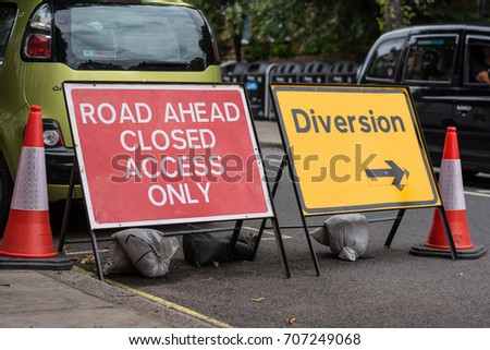 Road closed, diversion.