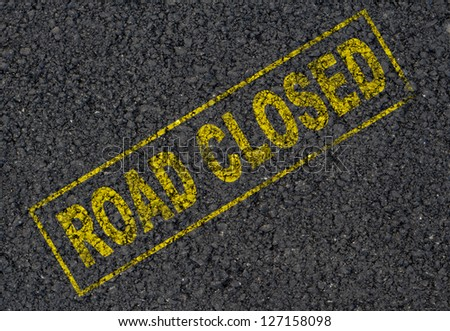 Road closed sign background - stock photo