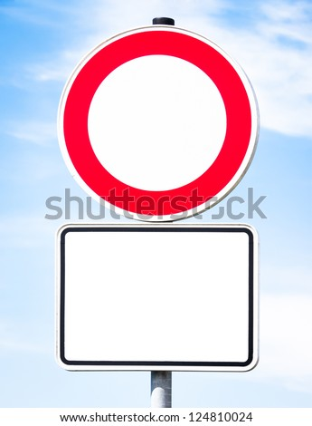 road closed sign in front of sky - stock photo