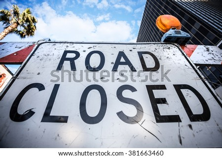Road Closed sign on the street - stock photo