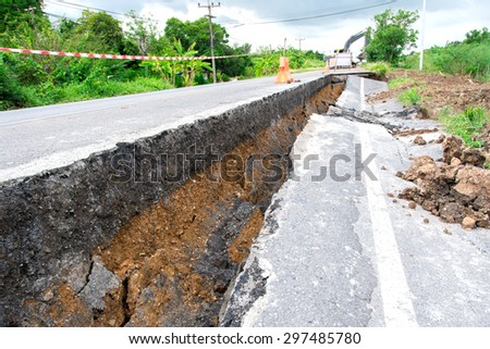 road collapses - stock photo