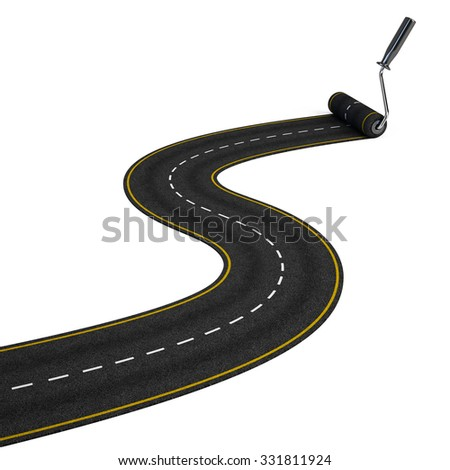 Road construction concept - paint roller and road - stock photo