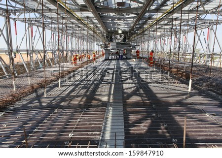 road construction, infrastructure and development in sao paulo, brazil - stock photo