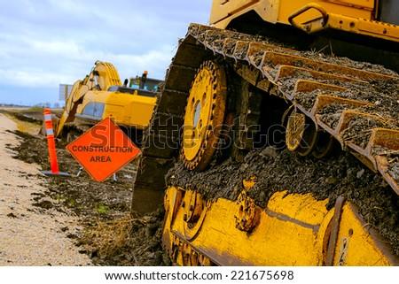Road construction machinery  - stock photo