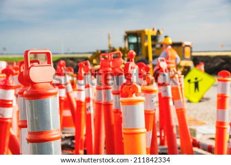 Road construction safety pilons - stock photo