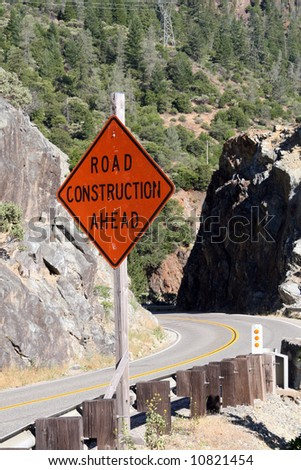 Road construction. The Feather River Canyon, located along Highway 70 between Oroville and Quincy in northern California.. - stock photo