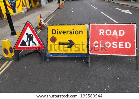 road construction zone with road signs