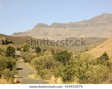 Road Countryside Scenic road highway over rural hills countryside landscape - stock photo
