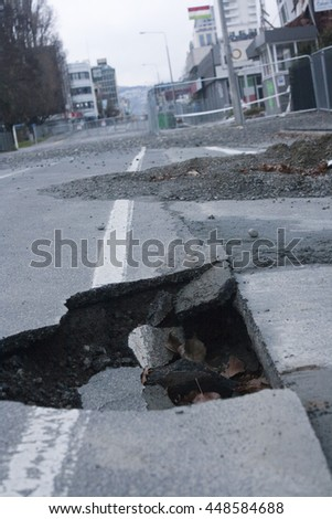 Road cracked from earthquake in Christchurch