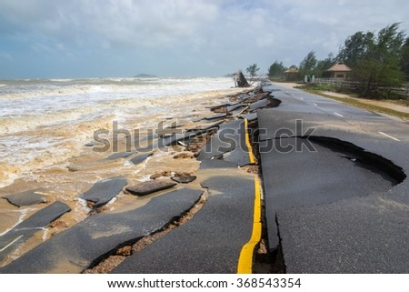 Road crash of waves and wind in rainy day, Storm comming - stock photo
