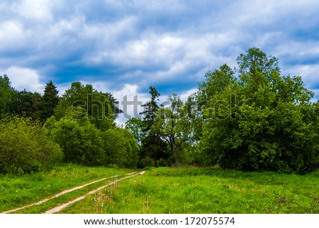 road crosses rural landscape with trees meadow dramatic strmy clouds sunset - stock photo