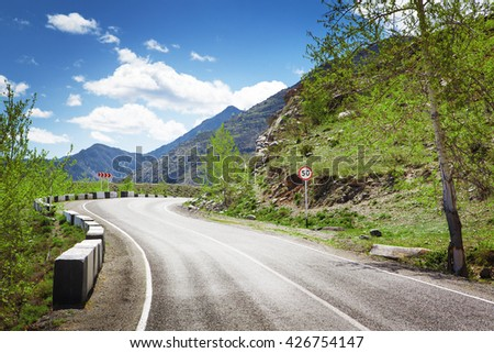 road curve in mountains