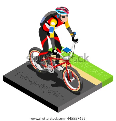 Road Cycling Cyclist Working Out.3D Flat Isometric Cyclist on Bicycle. Outdoor Working Out Road Cycling Exercises. Cycling Bike for Bicyclist athlete Working Out training Image. - stock photo