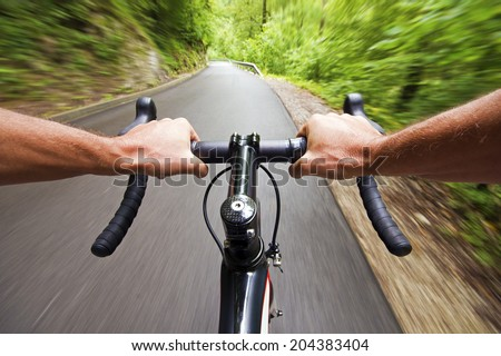 Road cycling wide angle speed shoot - stock photo
