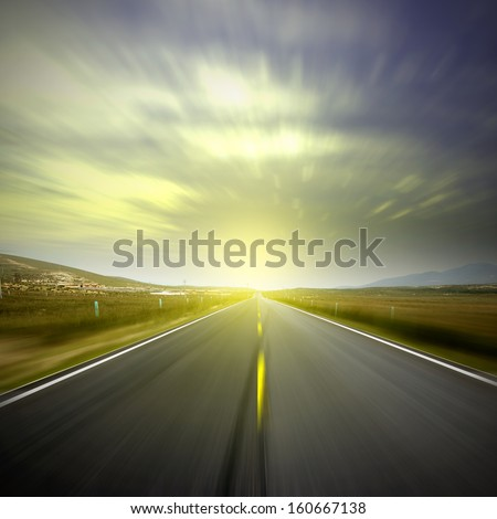 Road distance - stock photo
