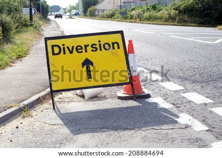 Road diversion signs in rural England - stock photo