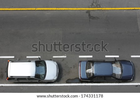 road from above with cars - stock photo