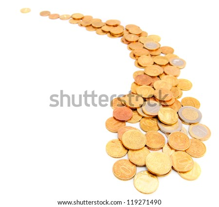 Road from coins. On a white background.