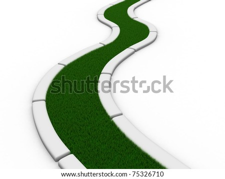 Road from grass on white. Isolated 3D image - stock photo