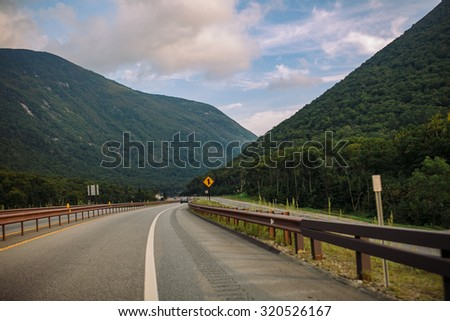Road goes into mountains