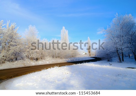 Road, hoarfrost on trees, on a grass and on the  earth in solar weather. - stock photo