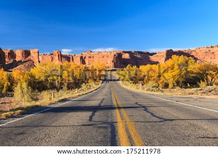 Road in Arches National Park, Utah autumn - stock photo