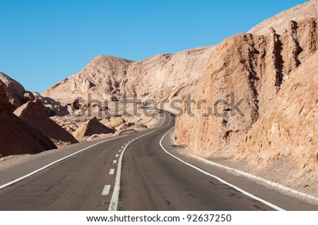 Road in Atacama desert, Chile
