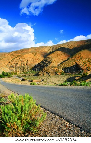 Road in Atlas Mountains, Africa - stock photo