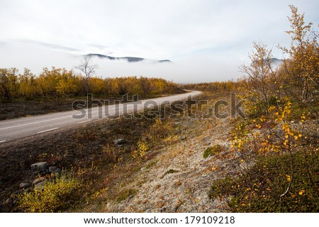 road in autumn in sweden - stock photo