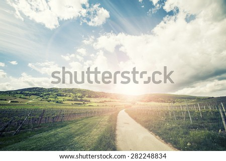 road in beautiful landscape on sunset  - stock photo