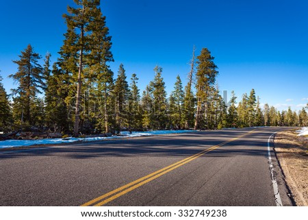 Road in Bruce canyon national park at winter