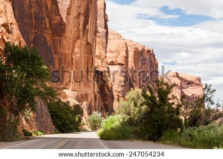 Road in Canyonlands near Moab, Utah - stock photo
