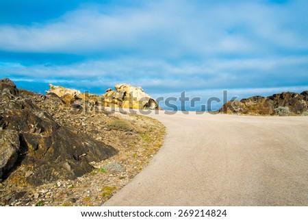 Road in Cap de Creus in Catalonia, Spain - stock photo
