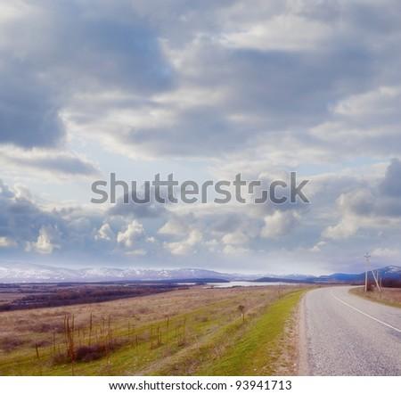 road in Crimea - stock photo