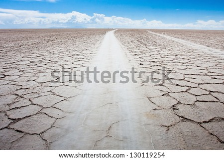 road in desert in Bolivia - stock photo