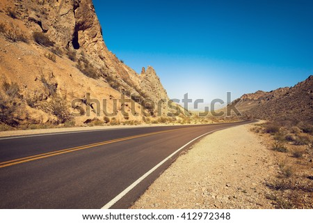 Road in desert, Valley of Fire State Park, Nevada, USA - stock photo