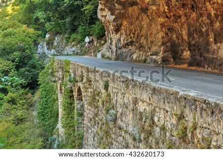 Road in gorge in the Alpes-Maritimes, France